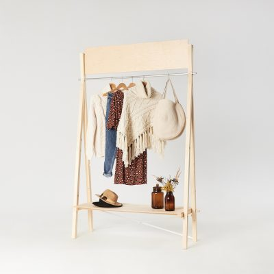 wooden clothing rail