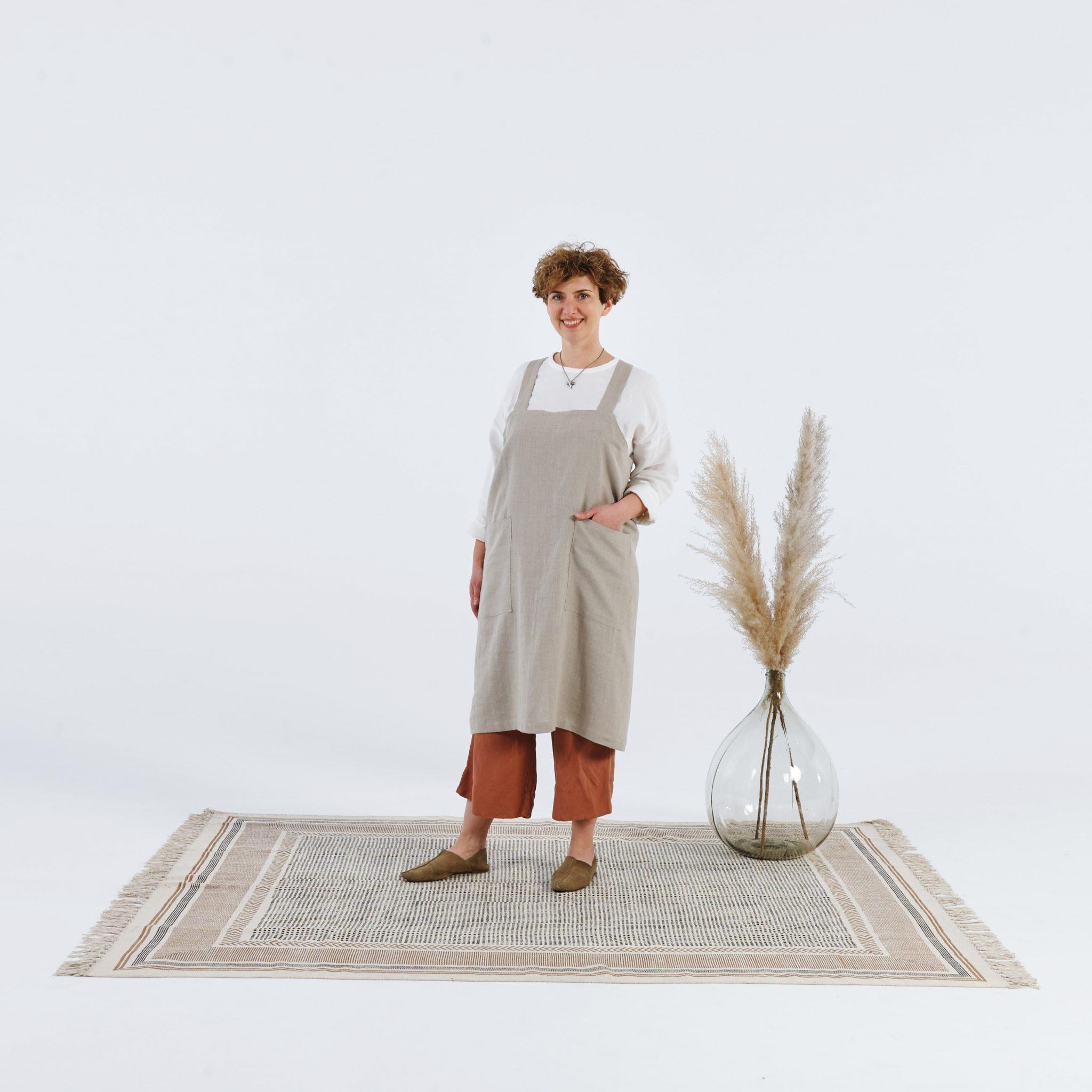 Fartuch rzemieślniczy lniany beżowy